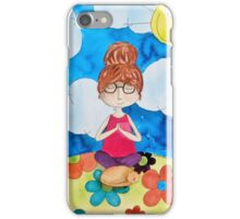 Sitting Meditation Girl and Cat iPhone Case/Skin