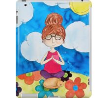 Sitting Meditation Girl and Cat iPad Case/Skin