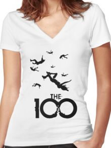 the 100 Women's Fitted V-Neck T-Shirt