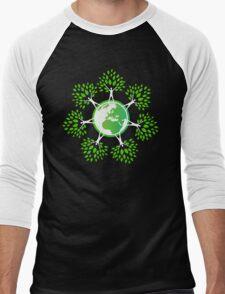 Earth Day Tree People (2c) Men's Baseball ¾ T-Shirt