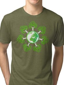 Earth Day Tree People (2c) Tri-blend T-Shirt