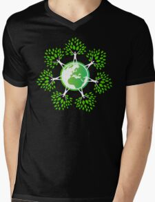 Earth Day Tree People (2c) Mens V-Neck T-Shirt