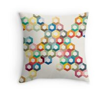 Colourful honeycomb Throw Pillow