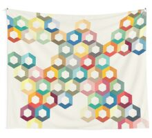Colourful honeycomb Wall Tapestry