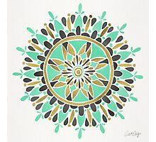 Mint & Gold Mandala Photographic Print