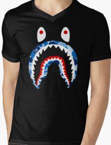 SHARK WITH BLUE CAMO Mens V-Neck T-Shirt