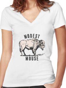Modest Mouse Buffalo Logo Women's Fitted V-Neck T-Shirt