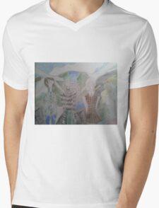 A spread of spring fashion outfits over planetary consciousness background Mens V-Neck T-Shirt