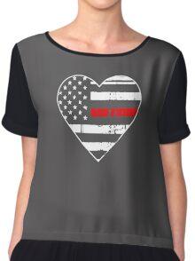 Thin Red Line Heart Shirt Logo Chiffon Top