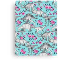Dinosaurs and Roses – turquoise blue  Canvas Print
