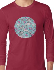 Dinosaurs and Roses – turquoise blue  Long Sleeve T-Shirt