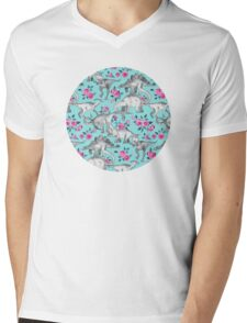 Dinosaurs and Roses – turquoise blue  Mens V-Neck T-Shirt