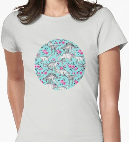 Dinosaurs and Roses – turquoise blue  Womens Fitted T-Shirt