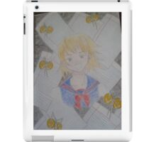 Japanese school girl with star, bell and loose leaf backdrop iPad Case/Skin