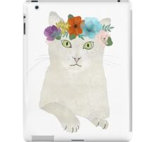 White cat in flower crown iPad Case/Skin