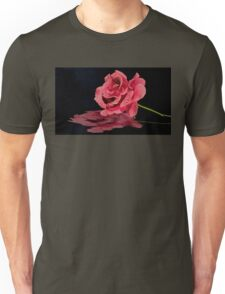 Pink Rose After a Rain with Its Reflection in Water Unisex T-Shirt