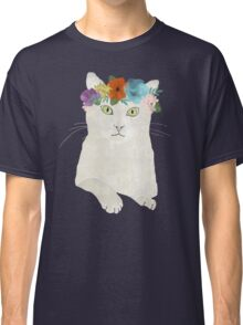 White cat in flower crown Classic T-Shirt