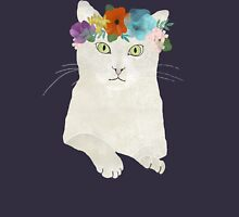 White cat in flower crown Hoodie