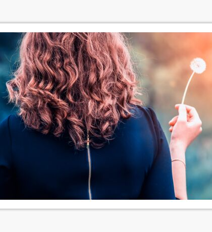 Girl with a dandelion in the hand Sticker