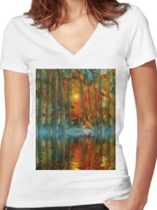Afternoon Enchantment Women's Fitted V-Neck T-Shirt
