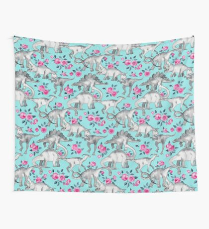 Dinosaurs and Roses – turquoise blue  Wall Tapestry