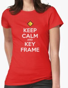 Keep Calm and Keyframe (White Type) Womens Fitted T-Shirt