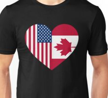 USA Canada flag heart Unisex T-Shirt
