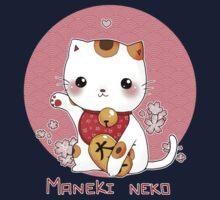 Maneki neko kawaii Japanese Lucky Cat Kids Tee