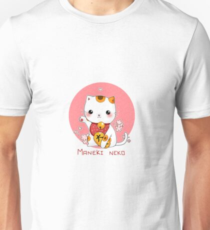 Maneki neko kawaii Japanese Lucky Cat Unisex T-Shirt
