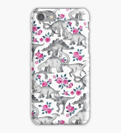Dinosaurs and Roses – white iPhone Case/Skin