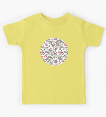Dinosaurs and Roses – white Kids Tee