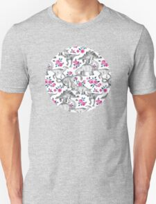 Dinosaurs and Roses – white Unisex T-Shirt