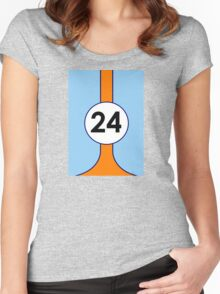 Gulf Motor racing stripes Women's Fitted Scoop T-Shirt