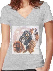 Cavalier King Charles Spaniel w/Ghost Women's Fitted V-Neck T-Shirt