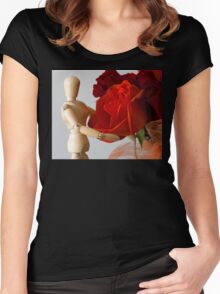 wood model with rose Women's Fitted Scoop T-Shirt