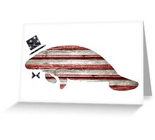 Patriotic, American Flag Manatee  Greeting Card