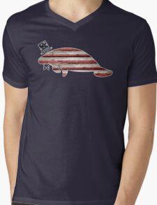 Patriotic, American Flag Manatee  Mens V-Neck T-Shirt