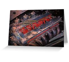 Retro urban auto engine. Greeting Card