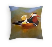 Mandarin Duck Flapping In The Water Throw Pillow