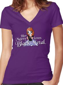 Black Metal Princess Women's Fitted V-Neck T-Shirt
