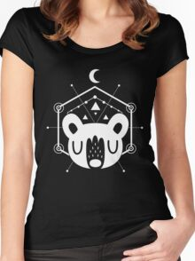Moon Bear Geometric Design in White Women's Fitted Scoop T-Shirt