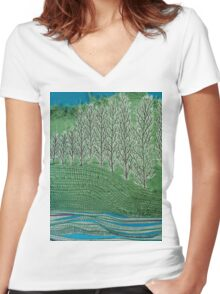 Lombardy Poplar Women's Fitted V-Neck T-Shirt