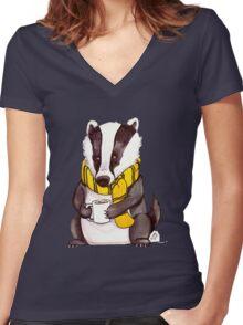 Badger House Mascot Women's Fitted V-Neck T-Shirt