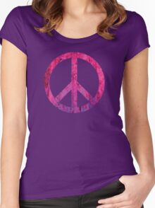 Peace Sign - Grunge Texture with Scratches Women's Fitted Scoop T-Shirt