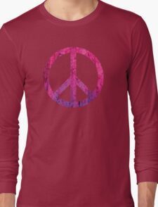 Peace Sign - Grunge Texture with Scratches Long Sleeve T-Shirt