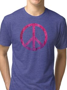 Peace Sign - Grunge Texture with Scratches Tri-blend T-Shirt