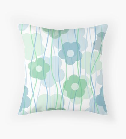 Beautiful transparent blue flower print Throw Pillow