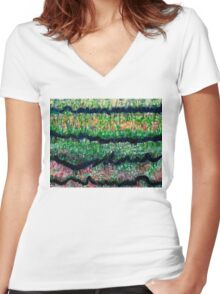 Humid Meadow with Wildflowers Women's Fitted V-Neck T-Shirt