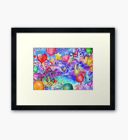 25 Balloons in the Rainbow Sky Framed Print