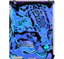 Bright neon blues painted Ocelot Cat iPad Case/Skin